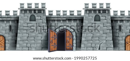 Castle stone wall, seamless medieval game background, opened wooden city gate, old door, loopholes. Brick fortress illustration, town entrance fortification isolated clipart. Ancient gray castle wall Photo stock ©