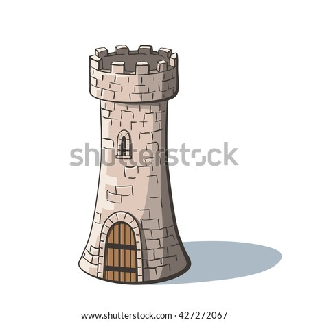 Castle tower. Medieval ancient fortress with a wood gate isolated on white background. Tower in cartoon style. Stock foto ©