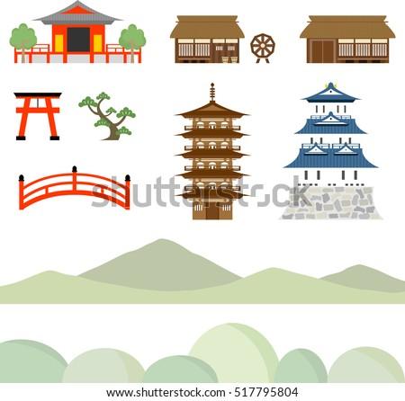 castle  tower  temple icon set