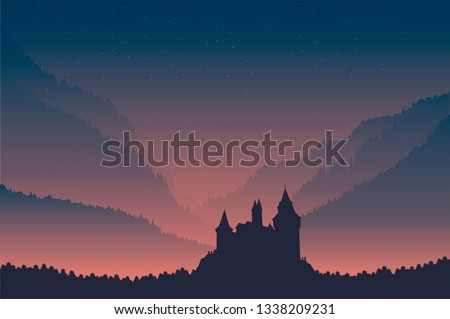 castle under night sky and pine