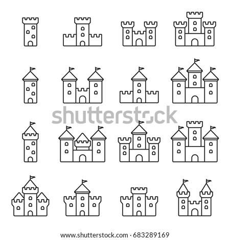 castles icon  thin monochrome