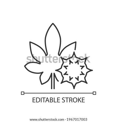 Castor bean linear icon. Exotic plant. Ricinus communis. Herbal allergen. Allergy for plant. Thin line customizable illustration. Contour symbol. Vector isolated outline drawing. Editable stroke Stock photo ©