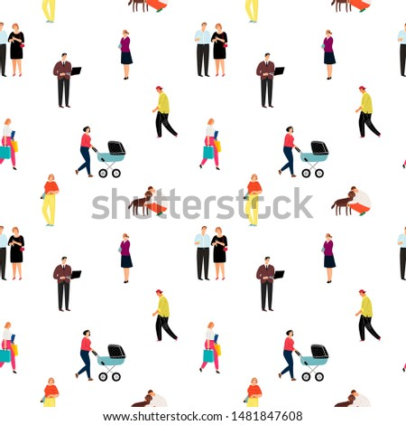 Casual cartoon people vector pattern. Man and woman person in casual fashion and various poses, seamless men and women art posing on white background