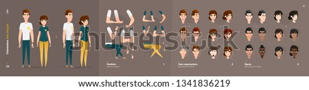 Casual Clothes Style. Guy and Girl Cartoon Characters for Animation. Default Body Parts Poses with Face Emotions. Five Ethnic Styles