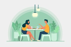Casual Date Night Young Couple In Love Vector Illustration