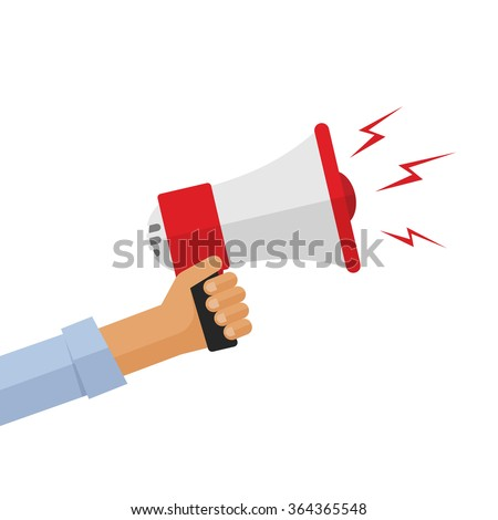 Casual hand holding bullhorn vector illustration, concept of news announcement, loud shout, shouting people, advertisement speech symbol, broadcasting flat modern design isolated on white background Photo stock ©