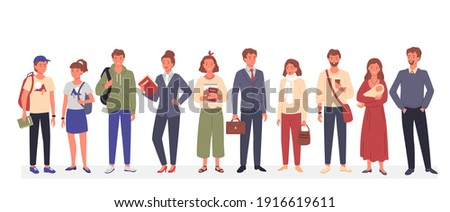 Casual happy people vector illustration. Cartoon different ages and professions female male characters standing together, persons wearing various stylish clothes in casual style isolated on white
