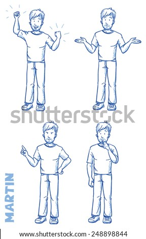 Casual man illustration in different emotions and poses, angry, happy, thoughtful, clueless, hand drawn sketch - Martin part 1