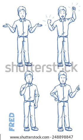 Casual man illustration in different emotions and poses, angry, happy, thoughtful, clueless, hand drawn sketch - Fred part 1