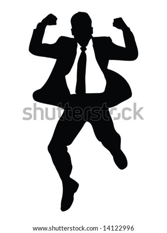 casual man jumping of joy illustration - silhouette isolated over a white background
