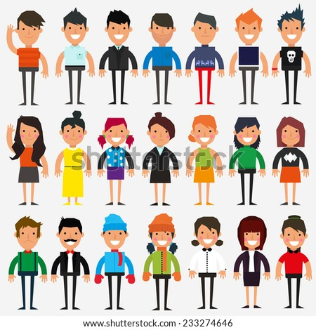 casual set characters for use in design vector illustration