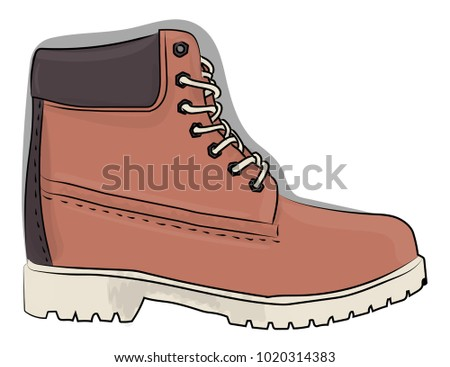 Casual shoes in pale pink and gray colors with a rough outsole with lacing on the white background eps 10 illustration