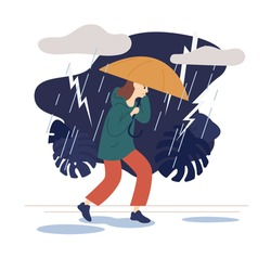Casual woman going on street under umbrella at thunderstorm vector flat illustration. Female walking at park in wind and lightning rainy day isolated on white. Dramatic sky, puddles and drops