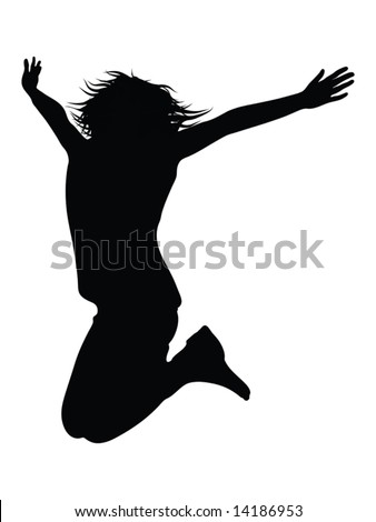 casual woman jumping of joy illustration - silhouette isolated over a white background