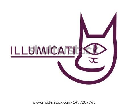 cat All Seeing Eye logo. Illuminati symbol