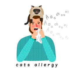 Cat allergy. Allergic person with cat on head, ill man with pets animals reaction vector illustration