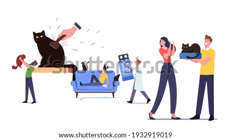 Cat Allergy Concept. Male Female Characters with Allergic Reaction on Pet Fur, Tiny Doctor Carry Huge Anti Histamine Remedy for Treatment Man Hold Cat in Respirator. Cartoon People Vector Illustration Zdjęcia stock ©