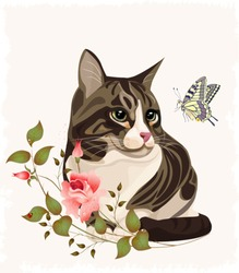 cat and butterfly.eps 10