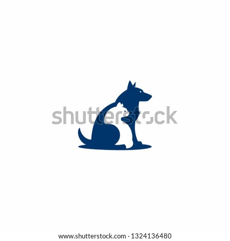 Cat and dog are sitting together. Concept for  pet shop, pet clinic, pet shelter or pet adoption.