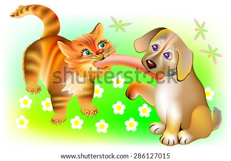 Cat and dog biting one sausage, vector cartoon image.