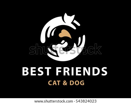 cat and dog friends emblem