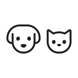 Cat and dog head line icon. Simple pet face pictogram, black and white linear drawing. Vector illustration set.