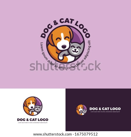 Cat and dog hugging each other illustration, happy pet care logo, ouval shape pet care logo, cat and dog in circle shape, pet care logo cartoon.