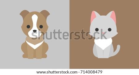 cat and dog icon flat design, pet shop concept