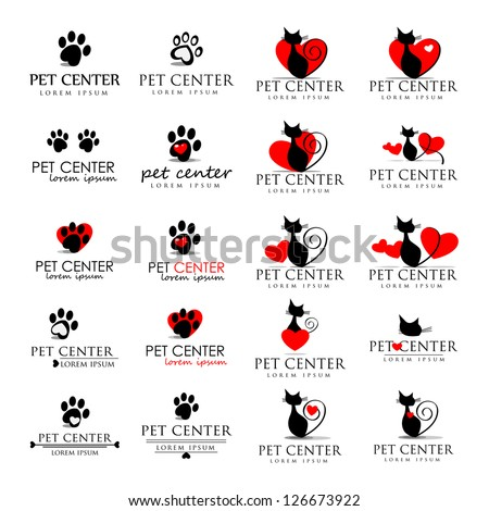 cat and dog icons   isolated on