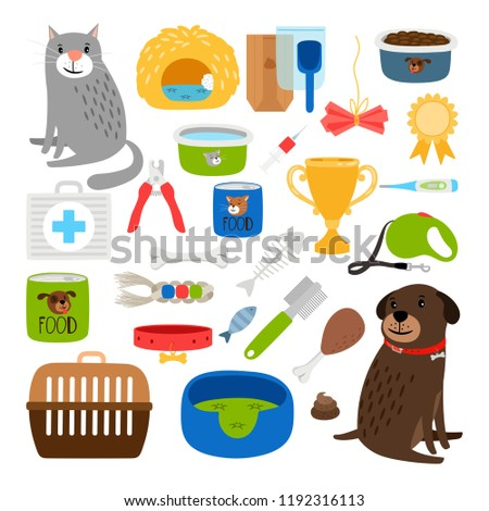 Cat and dog items. Stuff for cats and dog infographic service and animal store, medication and grooming item set vector illustration