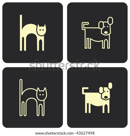 Cat and dog (kitten and puppy) - stylized vector symbols, pictograms.