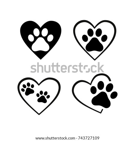 cat and dog paw print inside heart set
