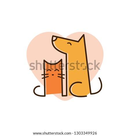 cat and dog pet love logo with line art concept design illustration. pet shop, pet clinic, pet care logo
