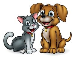 Cat and dog pet mascot cartoon characters