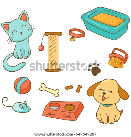 Stock Photo Cat and dog pets. Sketchy elements set. Vector illustration