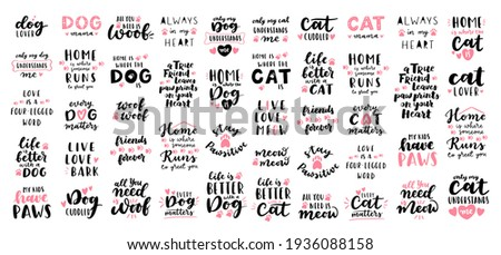 Cat and dog phrase black and white poster. Inspirational quotes about cat, dog and domestical pets. Hand written phrases for poster, cat and dog adoption lettering. Adopt a cat, dog.