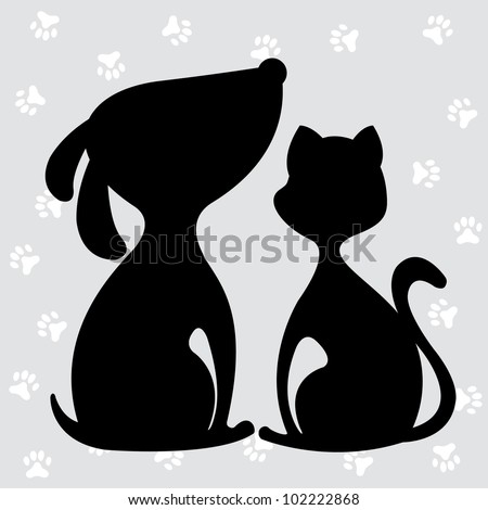 cat and dog silhouette, design element, vector illustration
