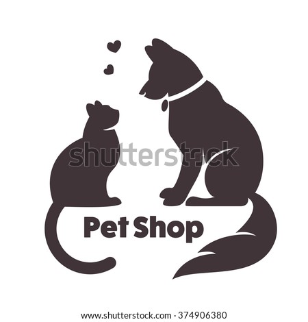 cat and dog vector signs and