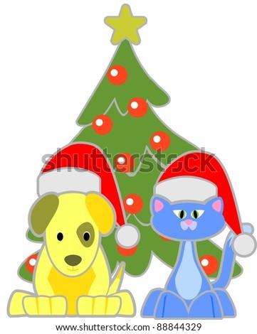 Cat and Dog wearing Santa hats