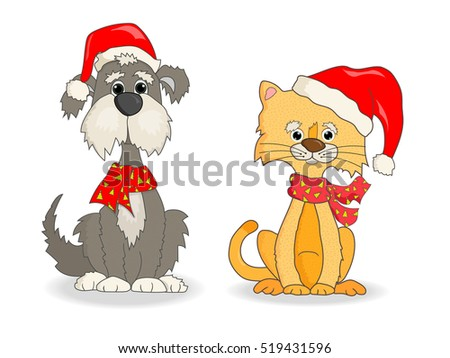 cat and dog with christmas hats