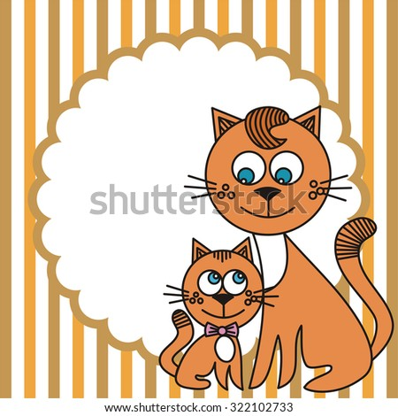 Cat and kitten vector illustration