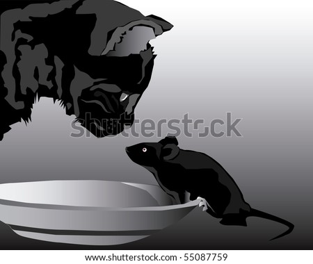 Cat and mouse in a plate against a dark background