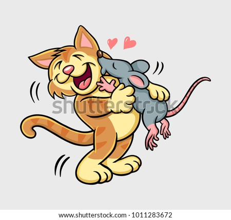 cat and mouse kissing mammal...