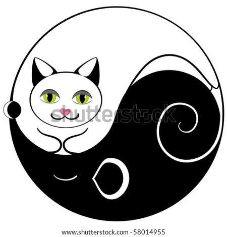 Cat and mouse ying yang symbol of harmony and balance