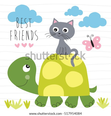 cat and turtle best friends