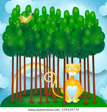 cat and woods  vector