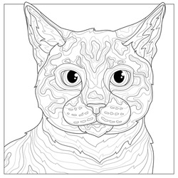 Cat .Animal.Coloring book antistress for children and adults. Illustration isolated on white background.Black and white drawing.Zen-tangle style.