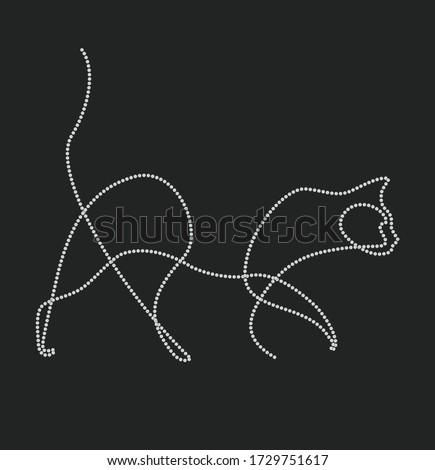 cat animal one line vector
