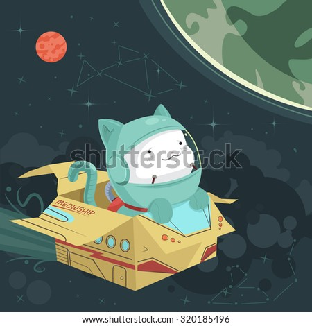 cat astronaut in a cardboard