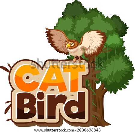cat bird font banner with owl
